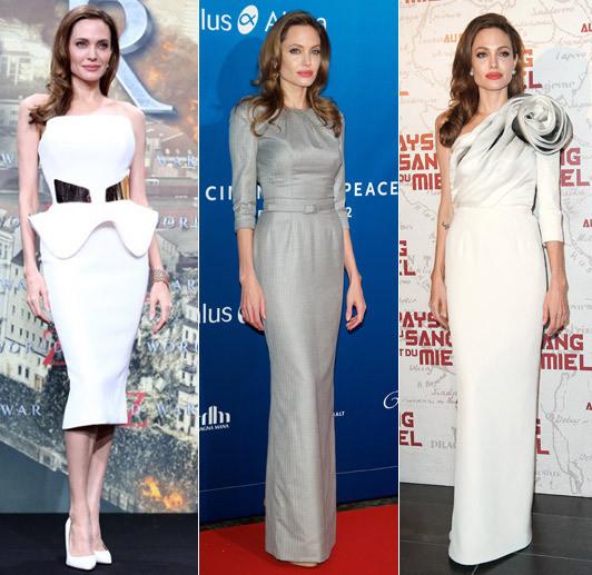 Angelina Jolie wearing Ralph & Russo. Photos: Rex