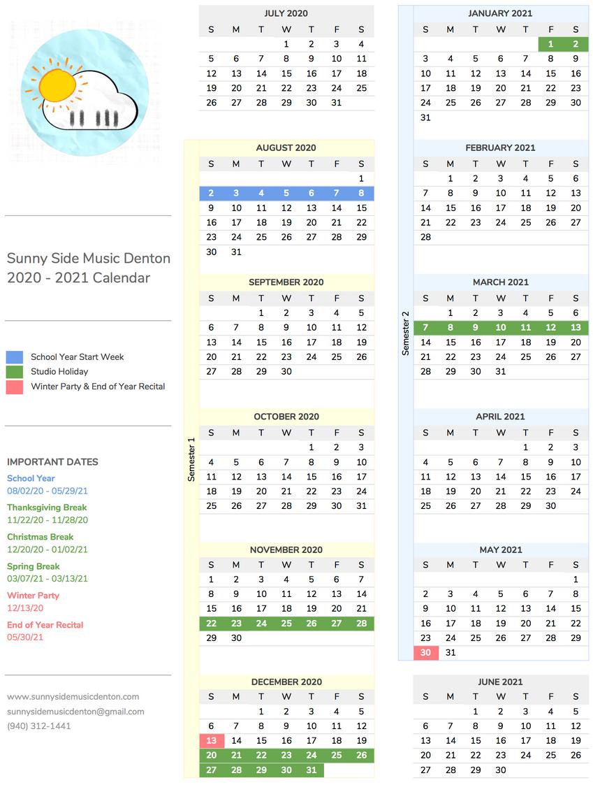 Piano Lessons Calendar 2020-2021 Sunny Side Music Denton