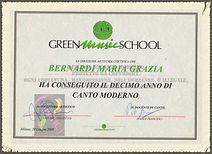 La direzione artistica della Green Music School certifica che Bernardi Maria Grazia ha conseguito il decimo anno di canto moderno