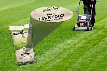 10-0-2 Lawn Food product image with portion of label zoomed in on which readsy Safer Play 10-0-2 Lawn Food with Crebgrass Prevention. This image is on a picture of a green lawn being mowed by a push mower.