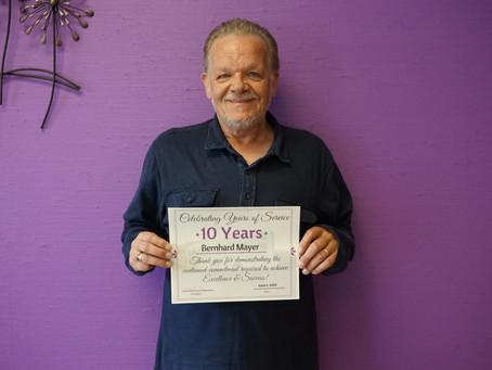 Bernie Celebrating 10 Years of Loyal Service at JBT Transport