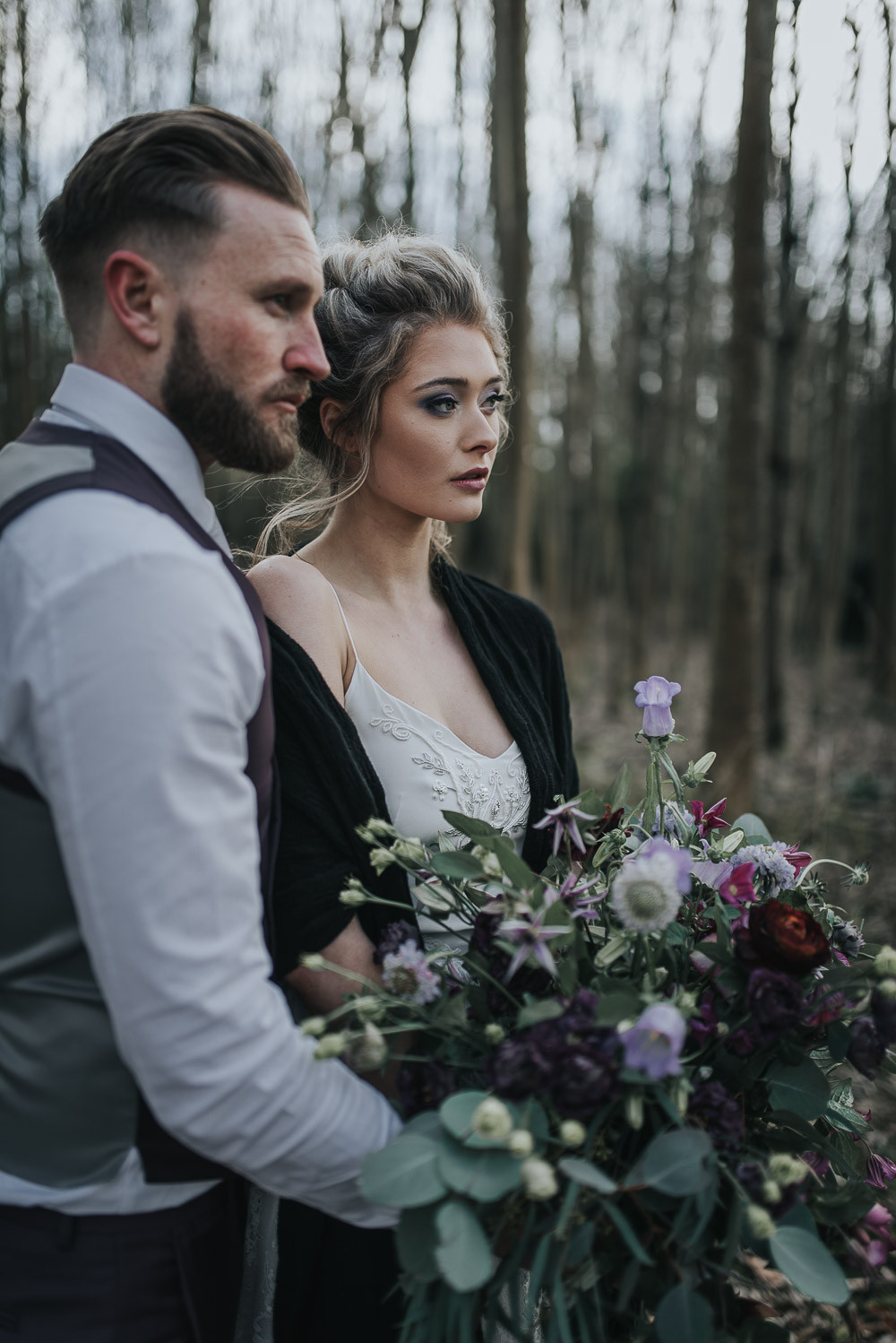 Bride and Groom Woodland Winter Purple Wedding
