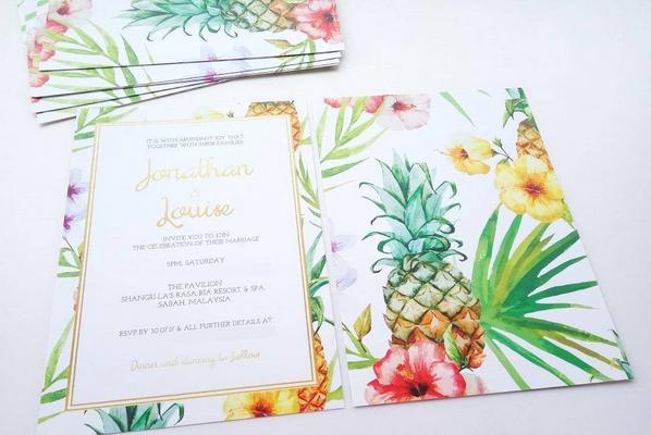 Pineapple Wedding Invites Tropical