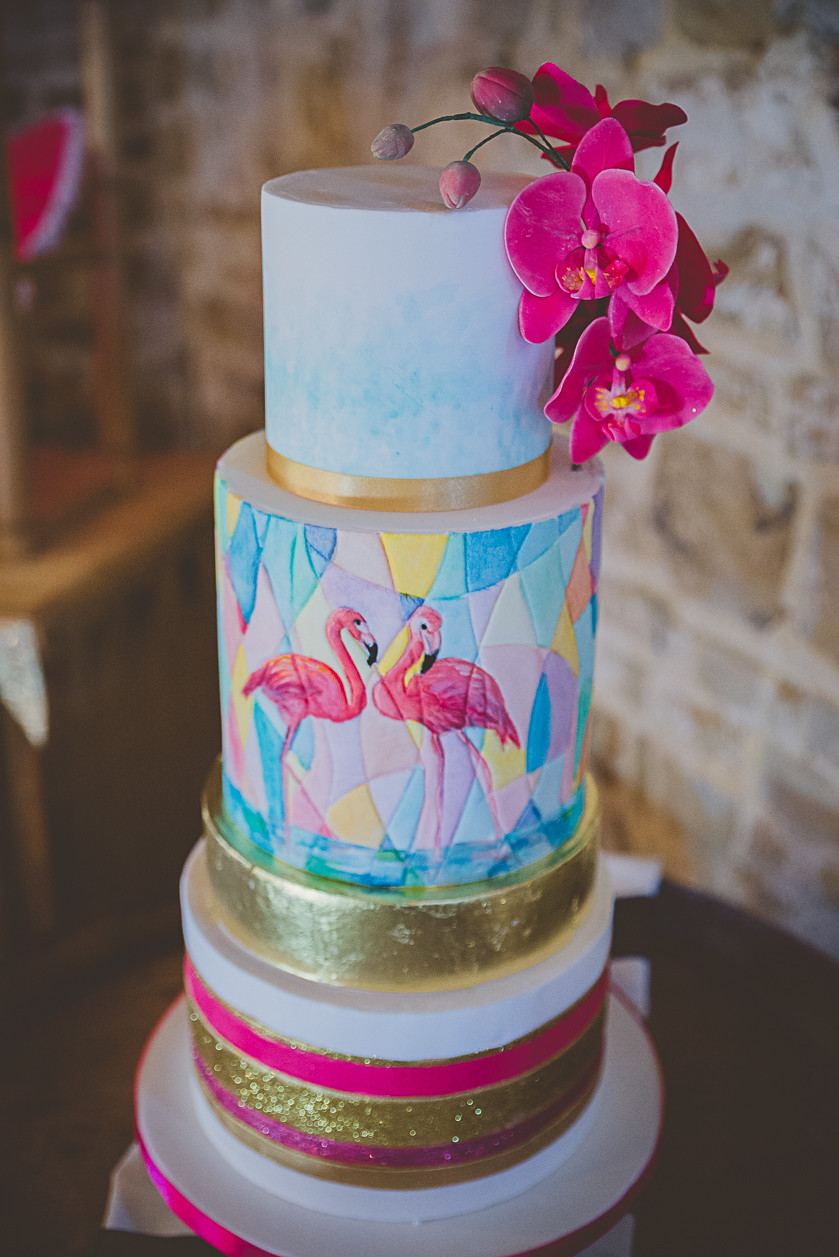Tropical Flamingo Wedding Cake Design