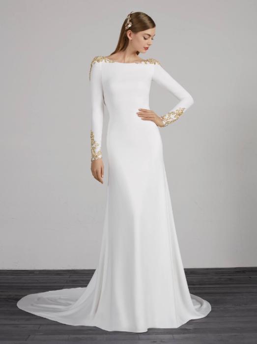 Gold Embellishment Romantic Pronovias Wedding Dress