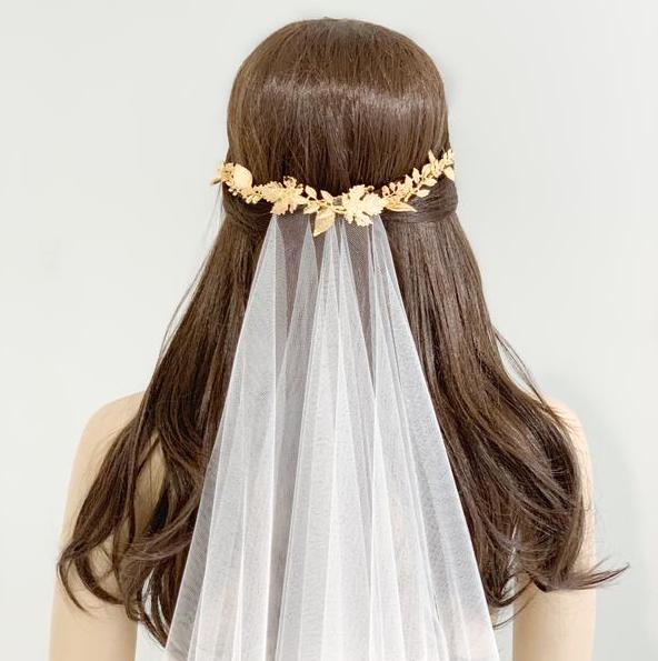 Gold Leaf Statement Hair Vine Britten Weddings