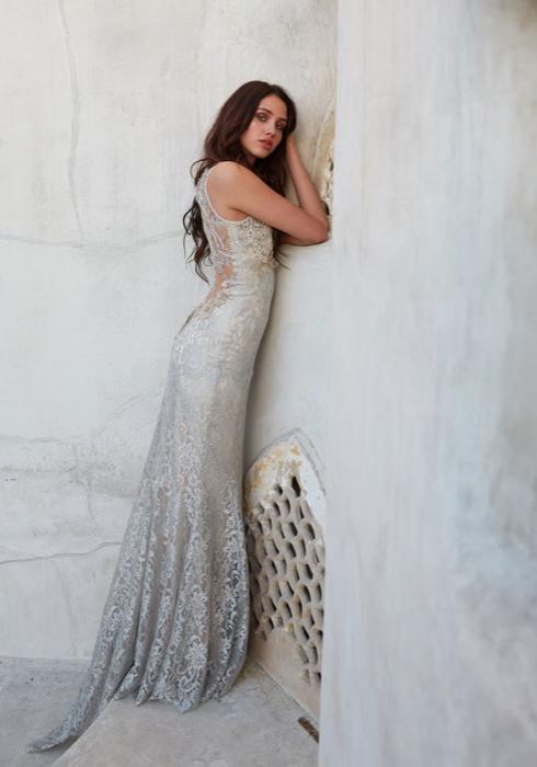 Blue Carvan Bridal Gown Claire Pettibone