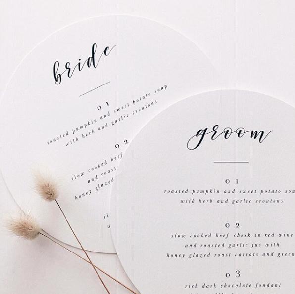 Circular Minimalist Wedding Stationery