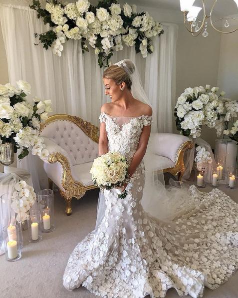 3D Romantic Floral Wedding Dress