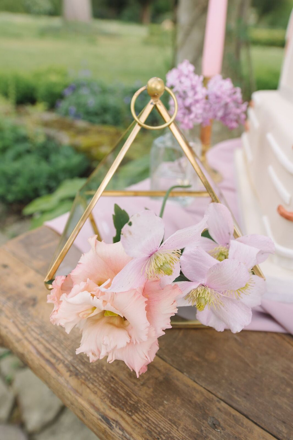 Gold Terrarium with Pastel Flowers