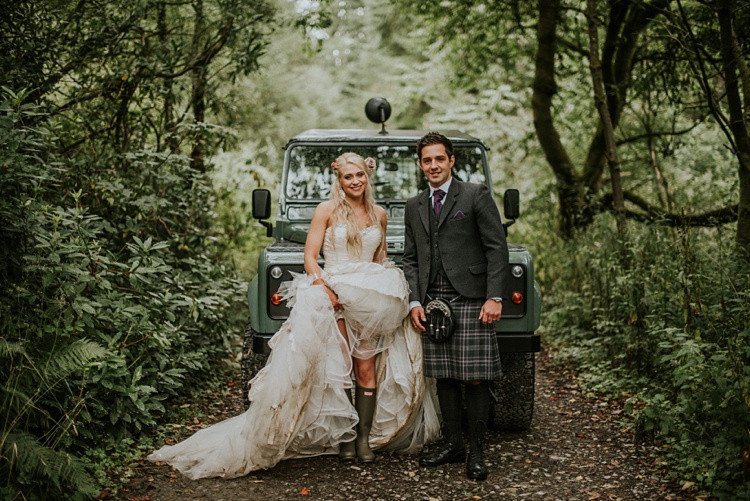Bride and Groom in Wellies Rainy