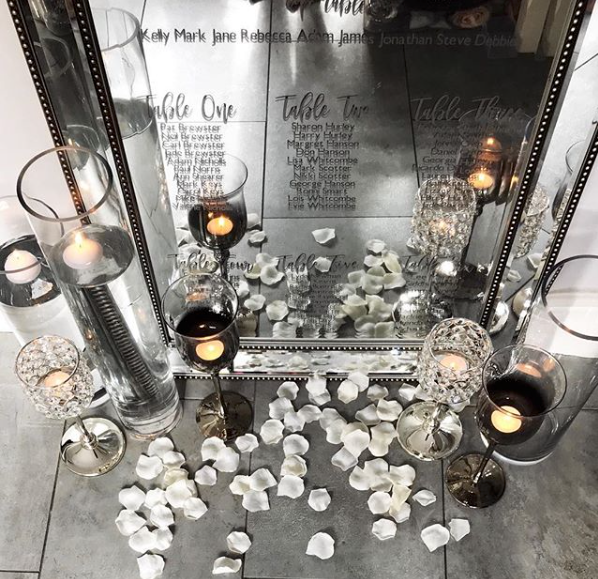 Personalised Luxury Mirror Table Plan