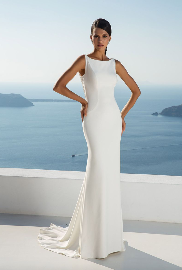 Justin Alexander Crepe Fit and Flare Gown