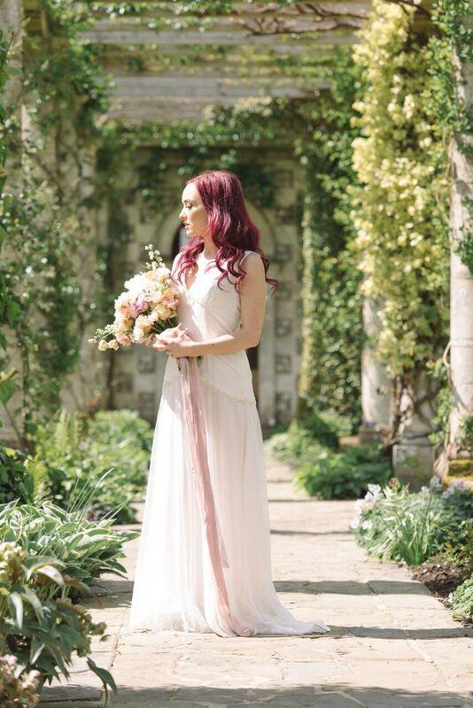 Bride Sussex Bridal Bouqet and Wedding Dress