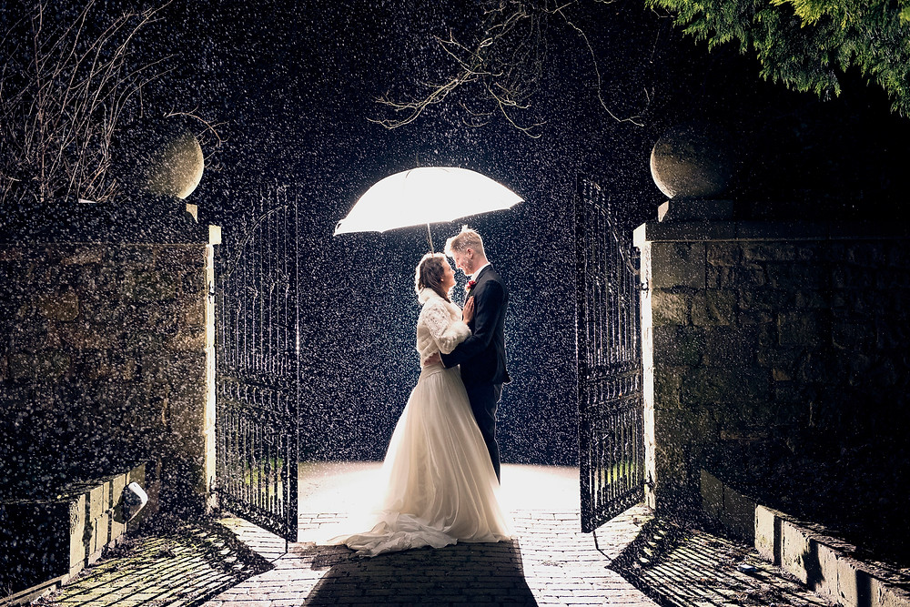 Umbrella Rain Bride and Groom Sussex