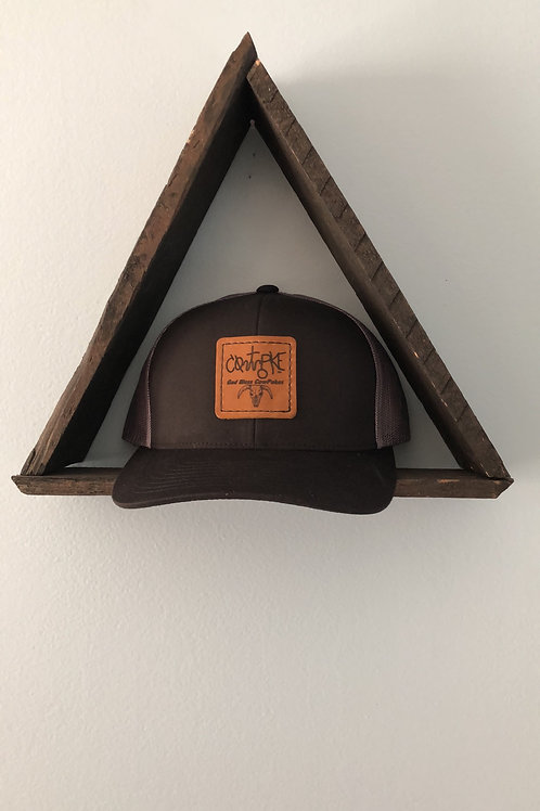 CowPoke Brand Horns Leather Patch Hat