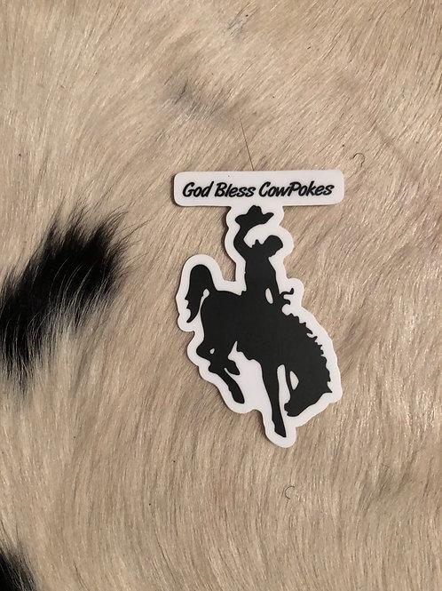 God Bless CowPokes Sticker
