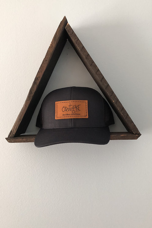 CowPoke Brand Rectangle Leather Patch Hat