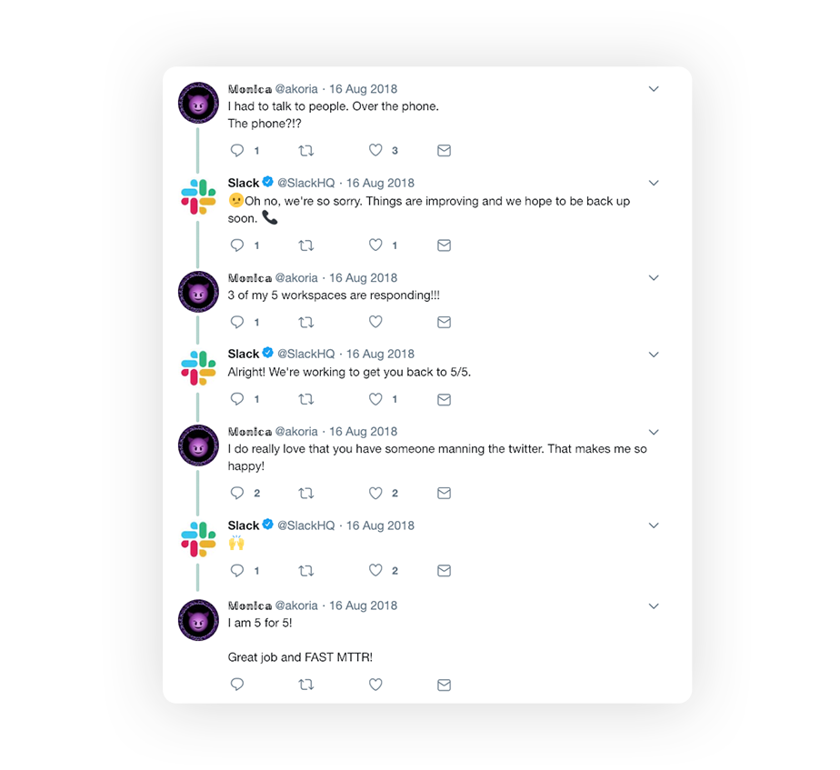 twitter slack conversation with tweets