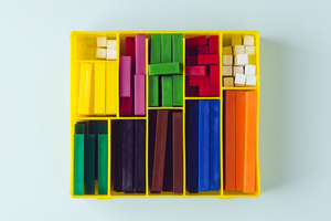 Color coordinated box of organized chalk