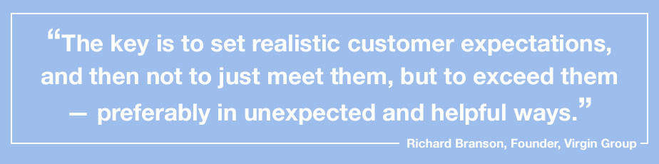 """""""The key is to set realistic customer expectations, and then not to just meet them, but to exceed them — preferably in unexpected and helpful ways."""" - Richard Branson, Founder, Virgin Group"""