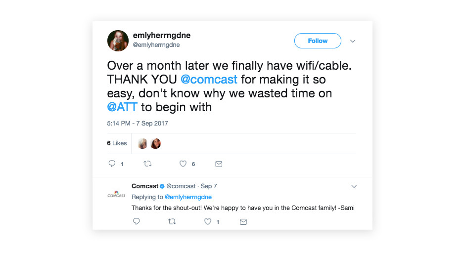 comcast twitter conversation customer support example