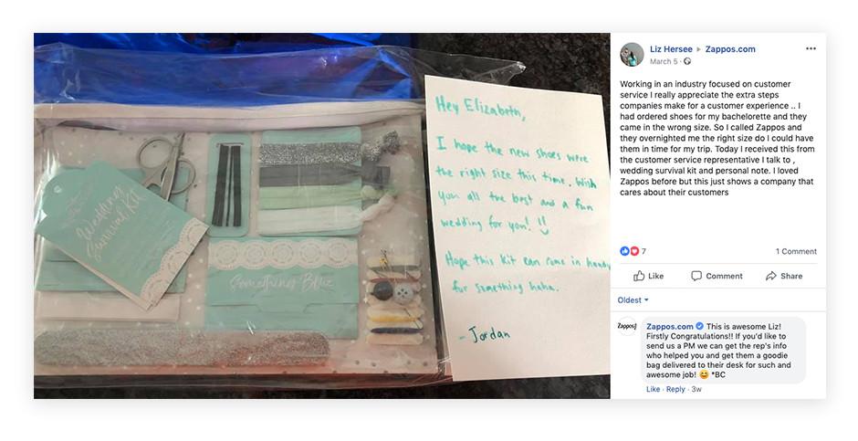 zappos facebook post customer service example