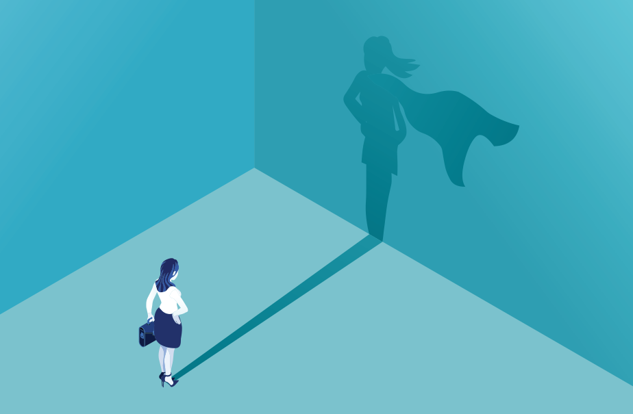 Illustration of a customer service rep whose shadow includes an extra cape