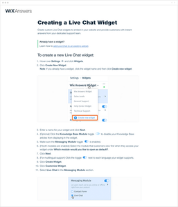 creating a live chat widget knowledge base article