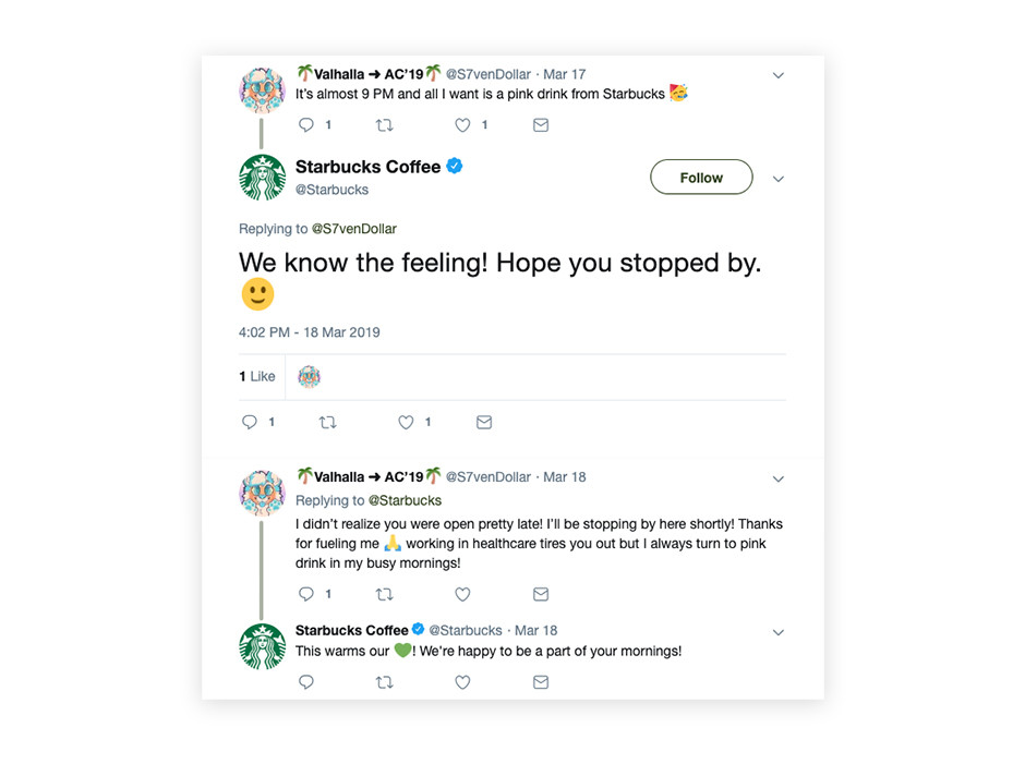 starbucks twitter conversation customer support example