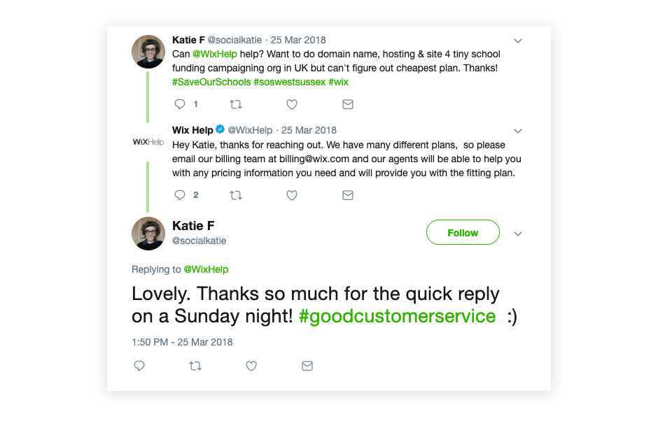wix twitter conversation customer support example