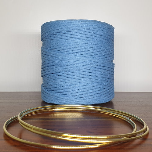 4 mm single twist sky blue macrame cord