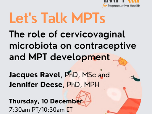 Initiative for MPTs (IMPT) launches talk series with a conversation about cervicovaginal microbiota
