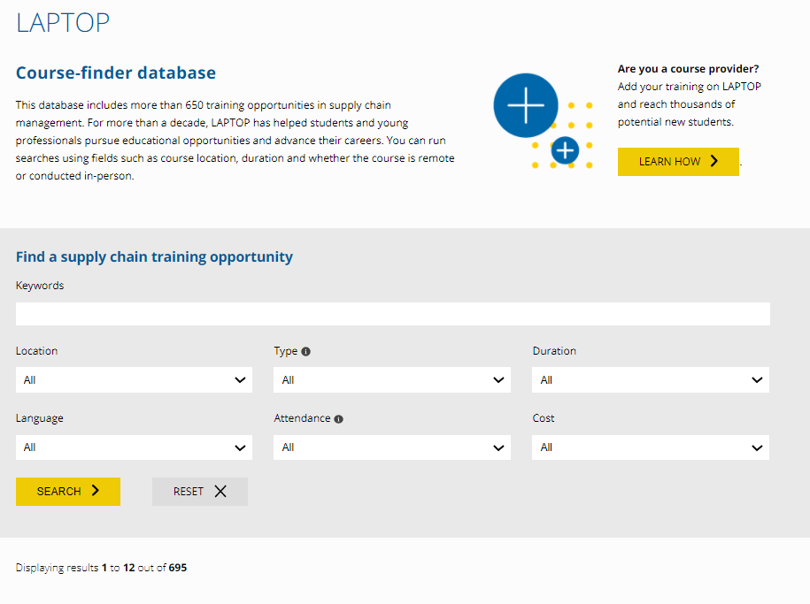 screenshot of the LAPTOP course-finder database, including search options and filters