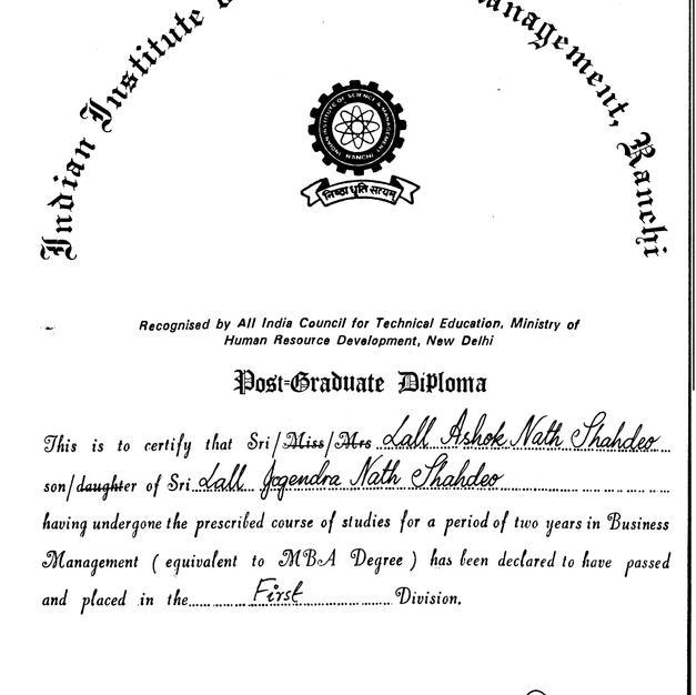 MBA Pass Certificate
