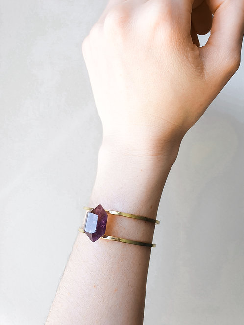 Double Terminated Amethyst Bangle