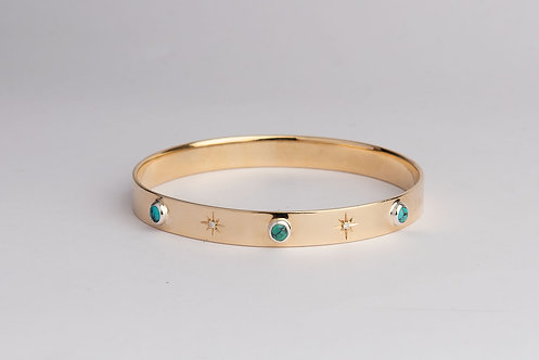 Solid 9CT Gold Logo Bangle with Turquoise & Diamonds (MADE TO ORDER)