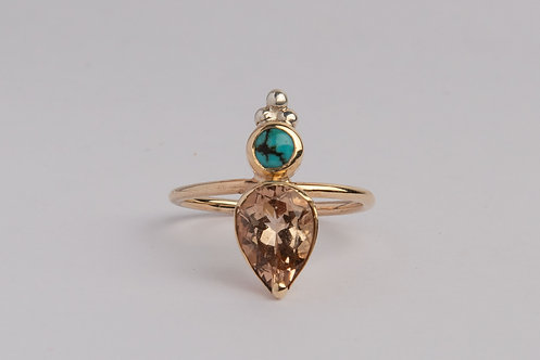 """Rightful Ruler"" Solid 9ct Gold with Topaz & Turquoise Ring (MADE TO ORDER)"