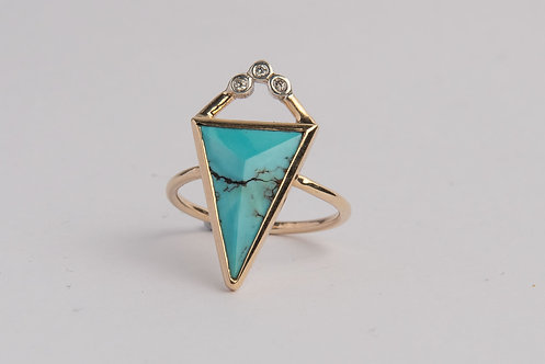 """""""Legacy"""" Solid 9ct Gold, Diamond & Turquoise Ring (MADE TO ORDER)"""