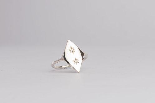 """Starry Nights"" Diamond & Palladium Silver Ring (MADE TO ORDER)"