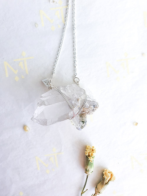 "[L] ""Radiant"" Clear Quartz Cluster with Chlorite Inclusion Necklace"