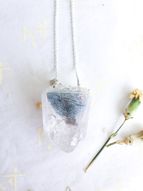 """[XL] """"Angel Light"""" Clear Quartz with Inclusions Necklace"""