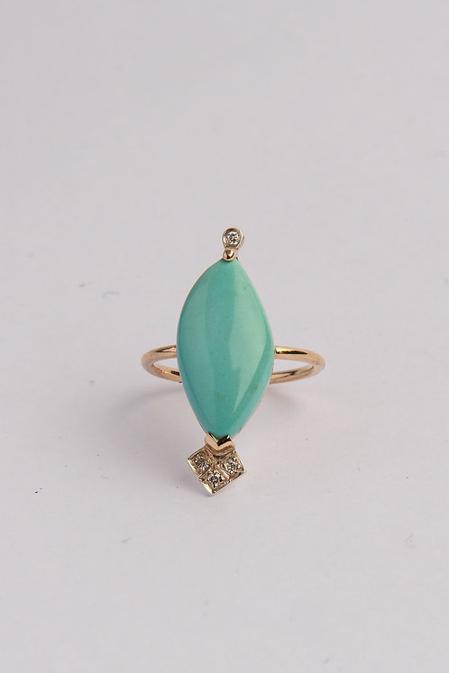 """Lovers"" Solid 9ct Gold, Diamond & Turquoise Ring (MADE TO ORDER)"