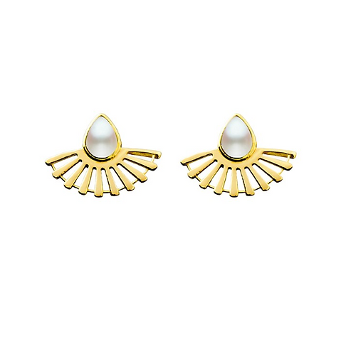 Fan Studs - Pearl (Made to Order)