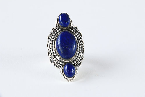 Dancing Ember Ring (Sterling Silver, Lapis Lazuli)