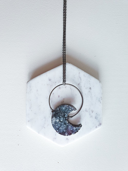 Luna Cycle Dark Druzy Necklace