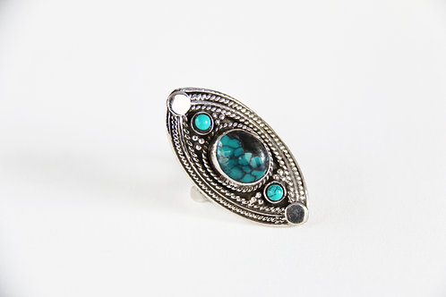 Dancing Ember Ring (Sterling Silver, Amazonite)