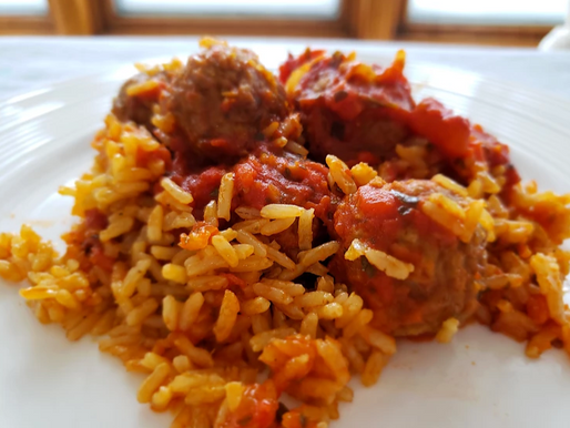 Vegan Baked Meatballs in Tomato Sauce With Rice