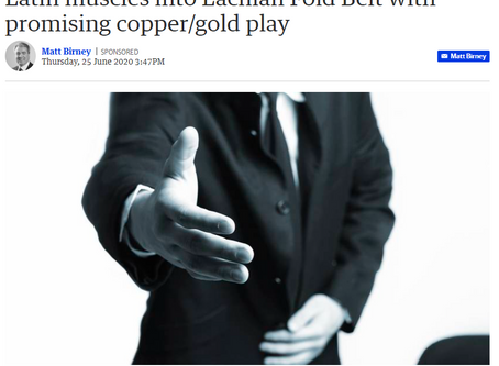 Latin muscles into Lachlan Fold Belt with promising copper/gold play