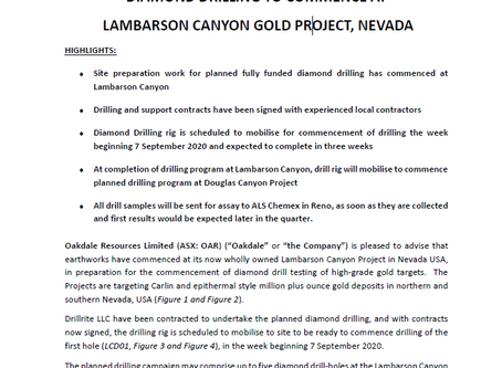 DIAMOND DRILLING TO COMMENCE AT LAMBARSON CANYON GOLD PROJECT, NEVADA